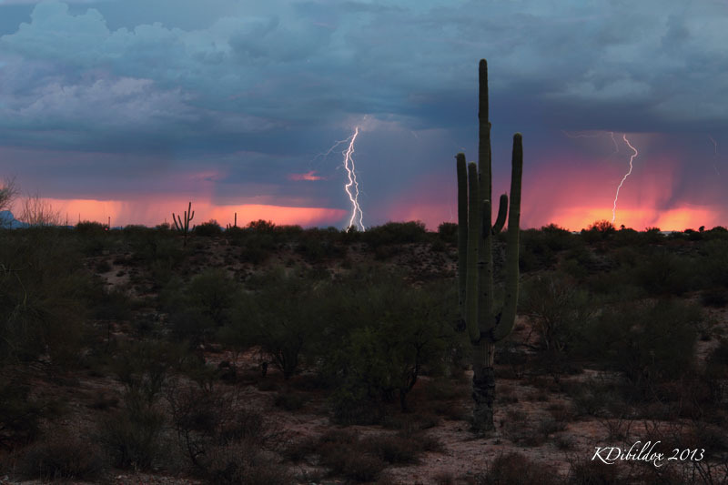 Lightning strikes in the desert