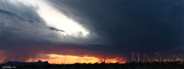 A nice monsoon storm during sunset