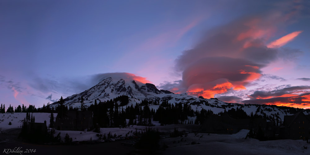 Explosion of color at sunrise at Mt Rainier