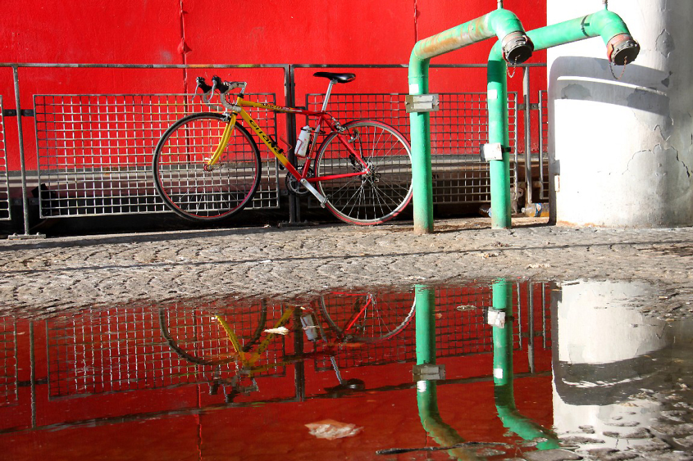 vélo, graphisme, reflet