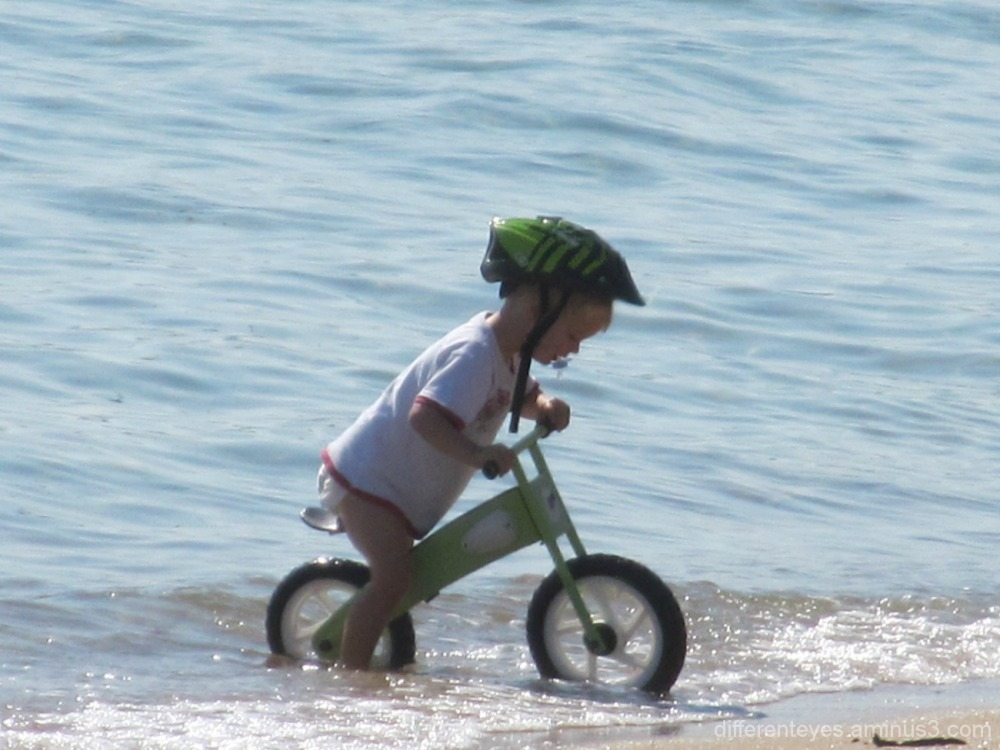 child and bike enjoying Dromana beach waters