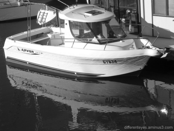 monochrome boat at Hastings marina