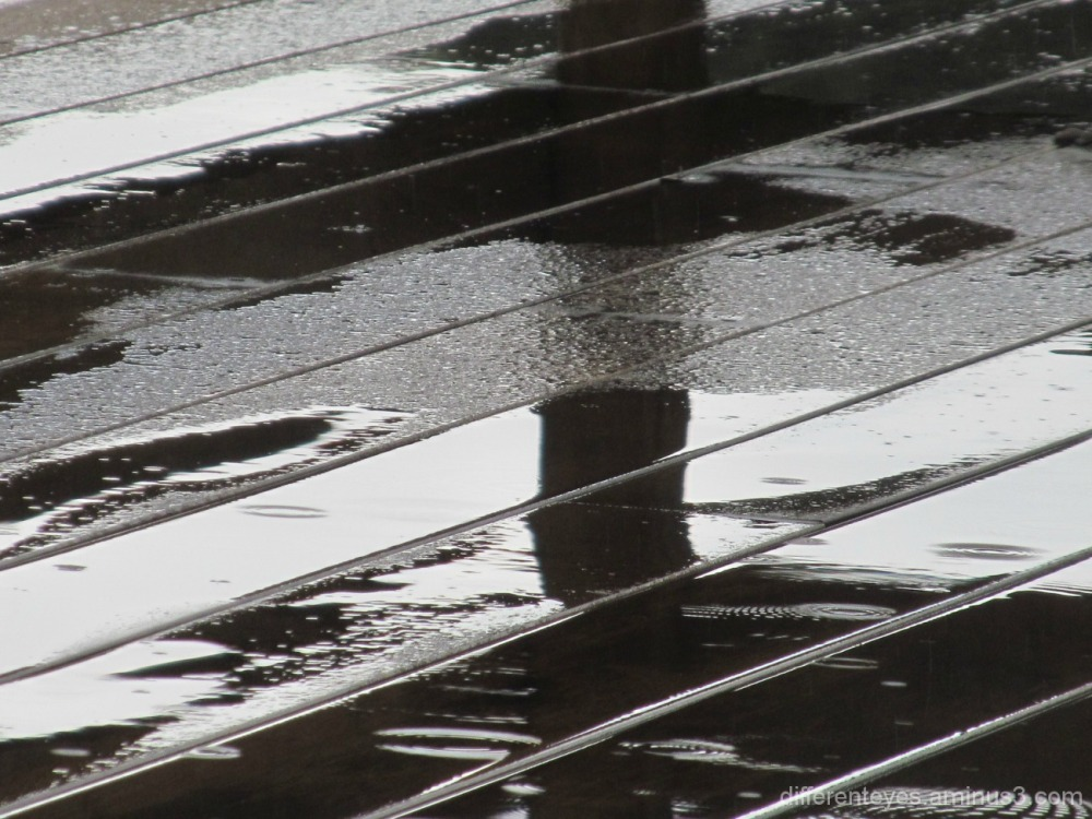 macro of verandah in the rain