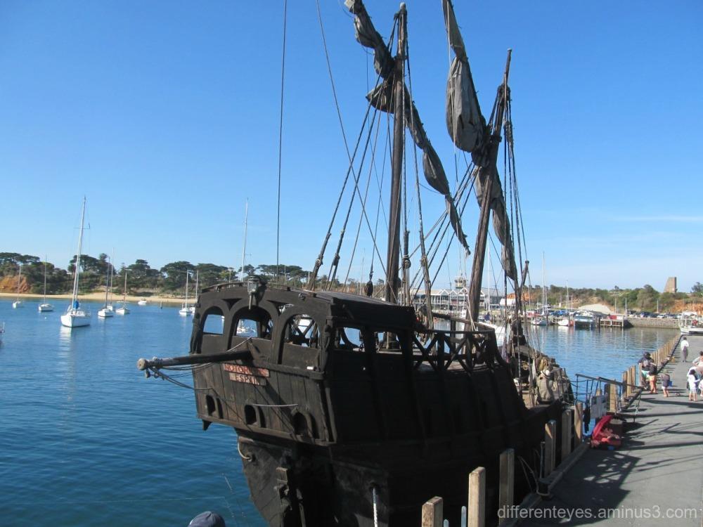 caravel replica moored at Mornington