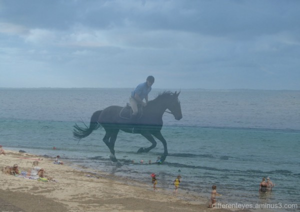 collage of a rider at the beach