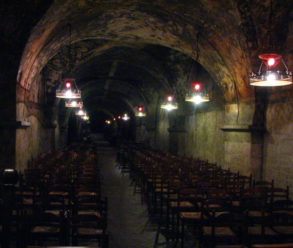 In the basement of the cathedral