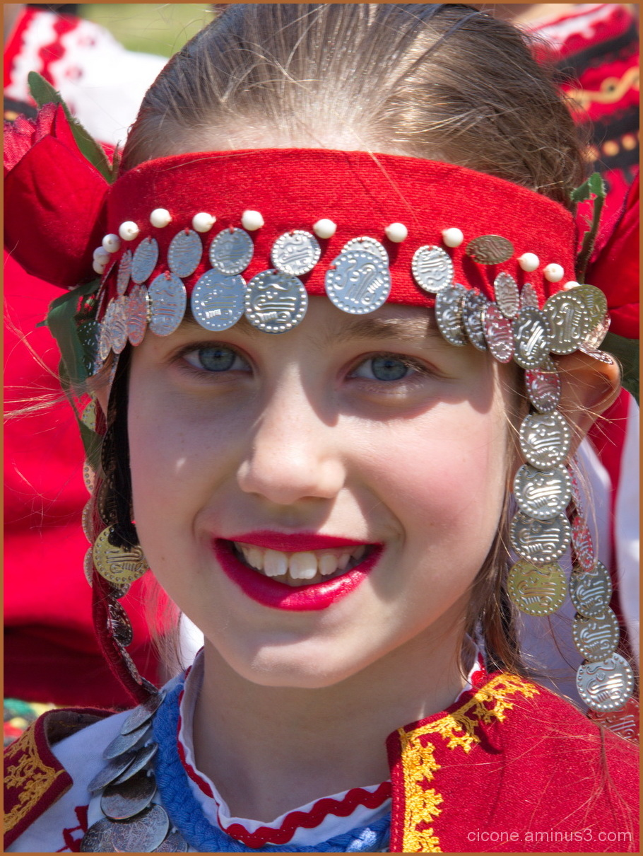 Girl in traditional costume of  Bulgaria