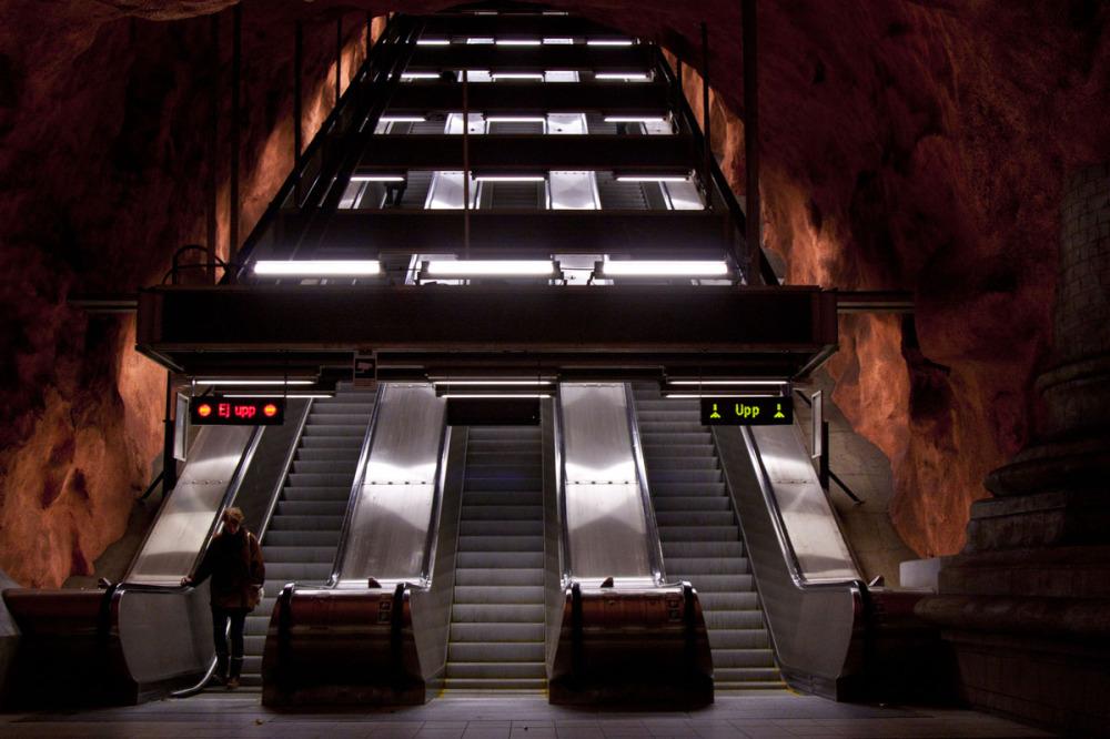 Subway stairs orange