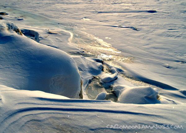 winter sunlight ice lake
