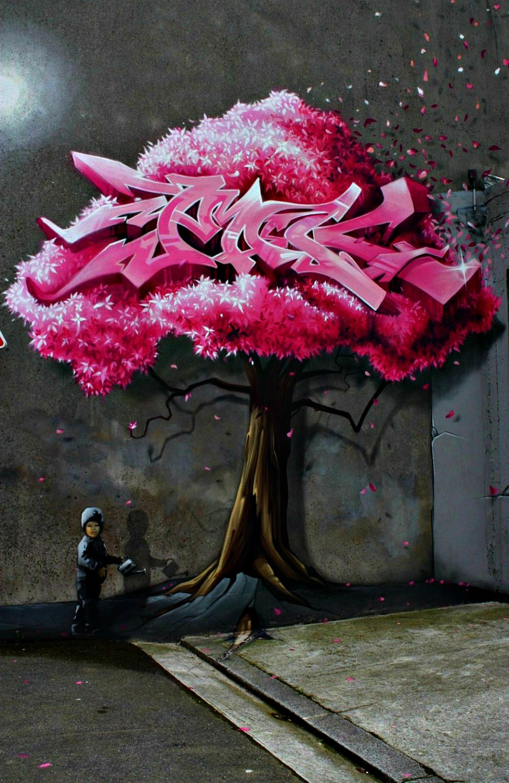 fresque, street art, tag, arbre rose,
