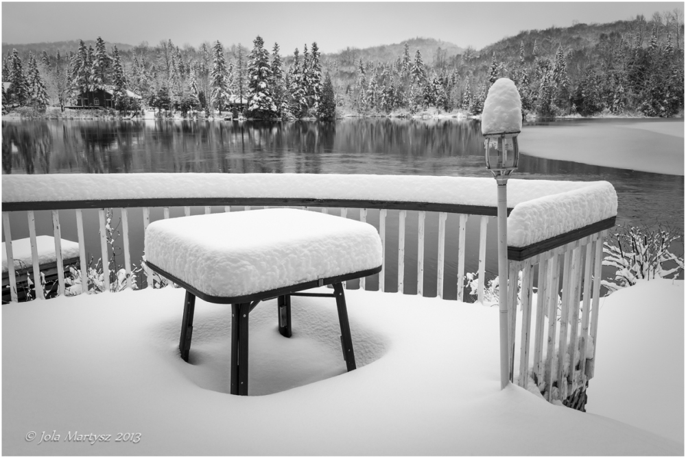 snow, lake, winter, black and white, black, white,