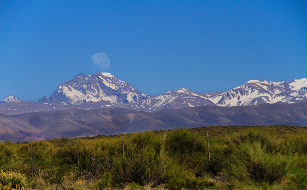 Afternoon moon over the Andes