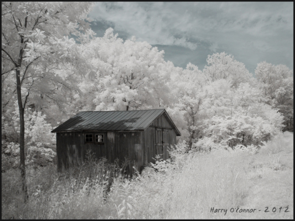 Infrared photo of a small barn