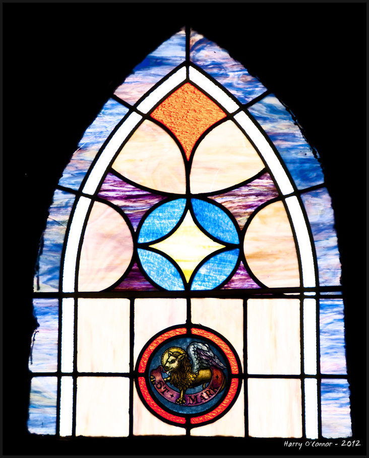 A stained glass window at Hart Square