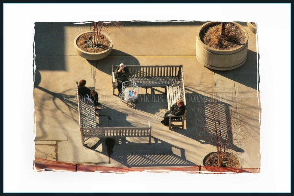 Three women on benches, shot from the 23rd floor.