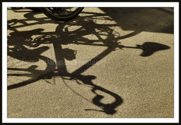 Strong shadows of several bikes at Union Square.