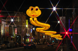 A Snake Over Chinatown at Night