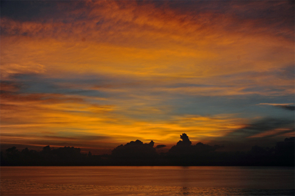 dawn sunrise sky sea