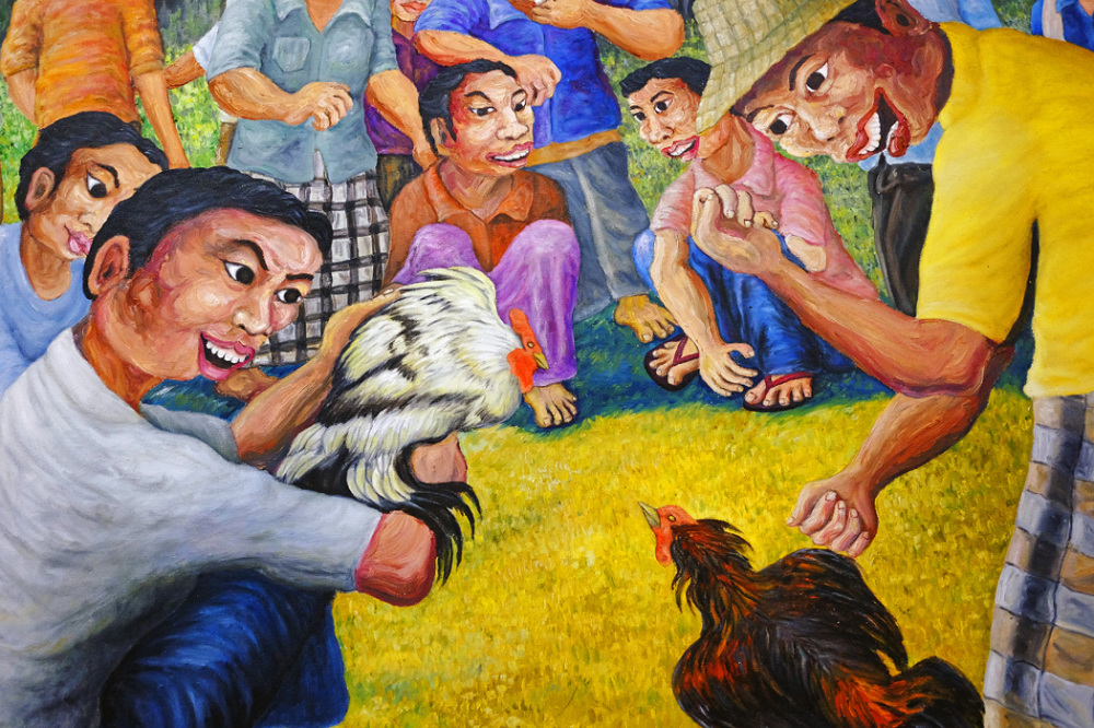 Balinese Painting of a Cockfight