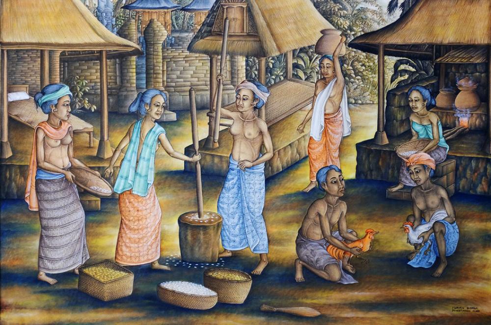 Balinese Painting - Village Life
