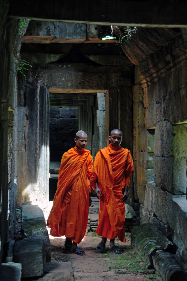 Monks in an Ancient Temple