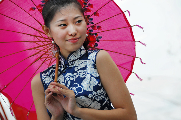 Girl with Pink Umbrella #1
