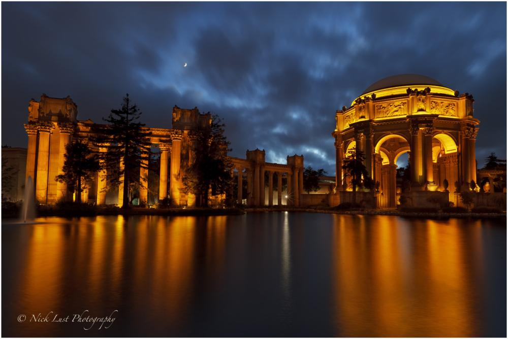 palace of fine arts, san francisco, crescent moon