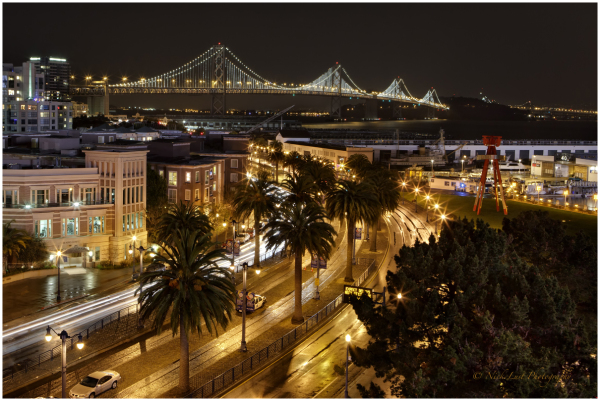 san francisco, bay bridge night, at&t park
