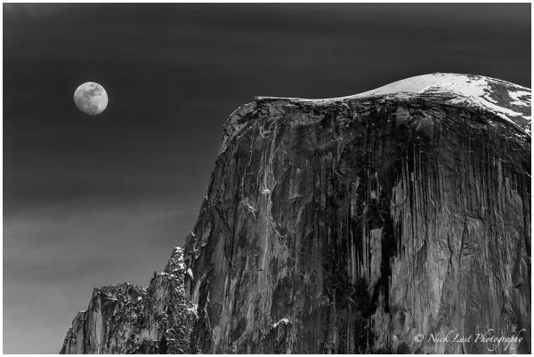 half dome, yosemite national park, moon rise