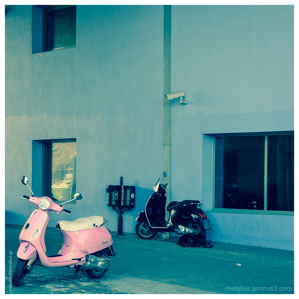 A pink Vespa in Thessaloniki, Greece 2013