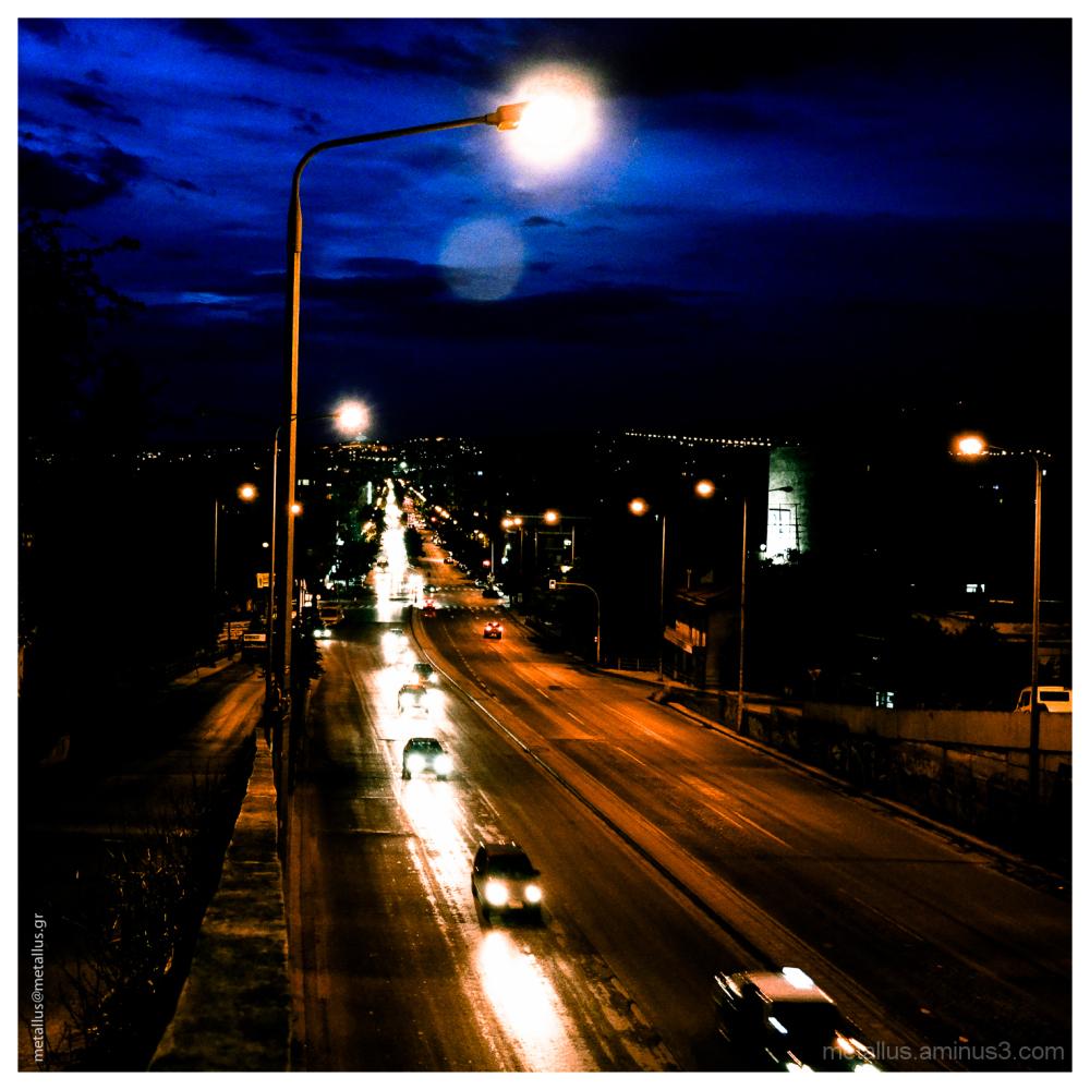 Urban Night View in Thessaloniki Greece