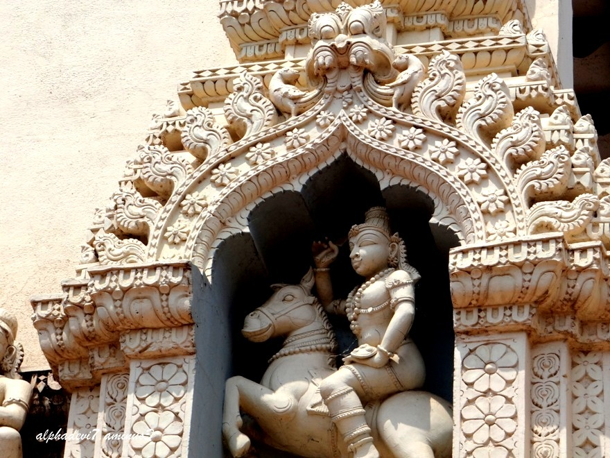 A sculpture on a Temple Tower