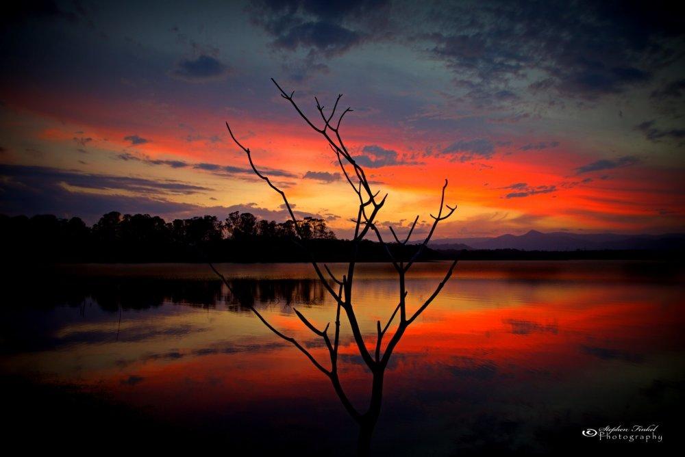 Intense Sunset at the Lake