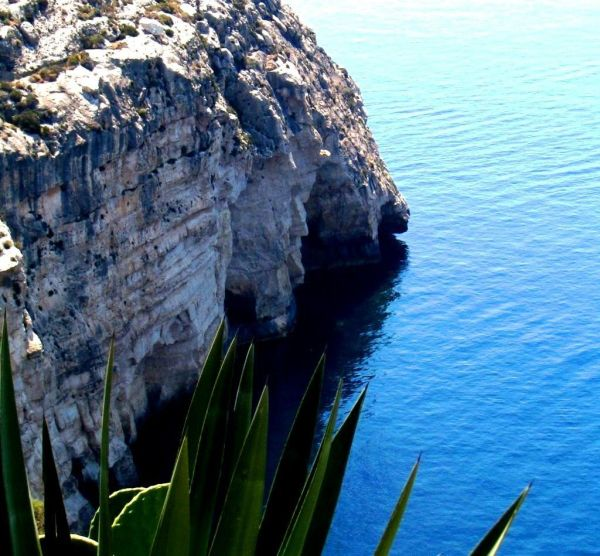 Cliff rock blue grotto Malta limestone