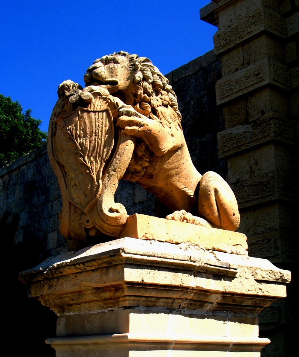 Mdina stone lion gate Malta