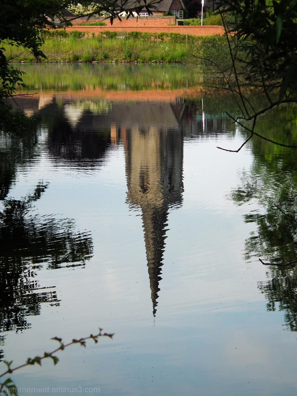 church spire reflection