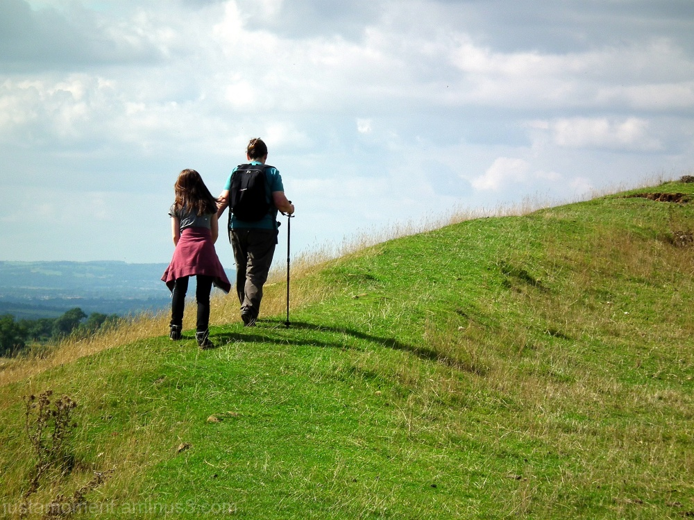 Burrough Hill - walking the ramparts.