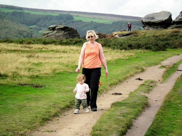 Lola walking Froggatt Edge Derbyshire.
