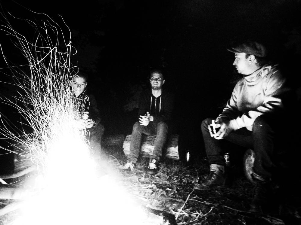 Round the campfire.