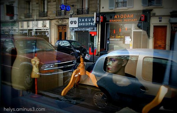paris: Street through the shop window