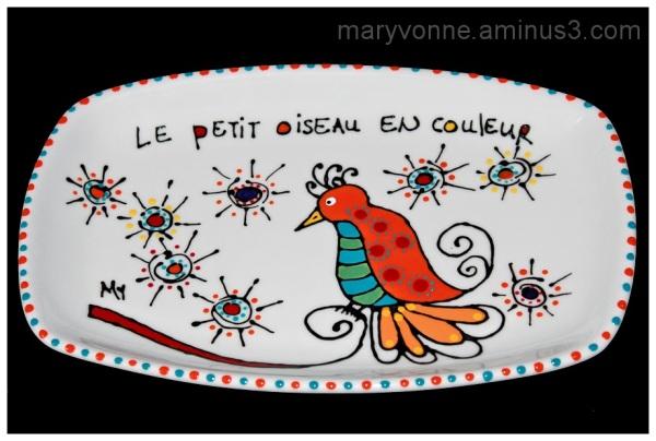 assiette porcelaine oiseau art