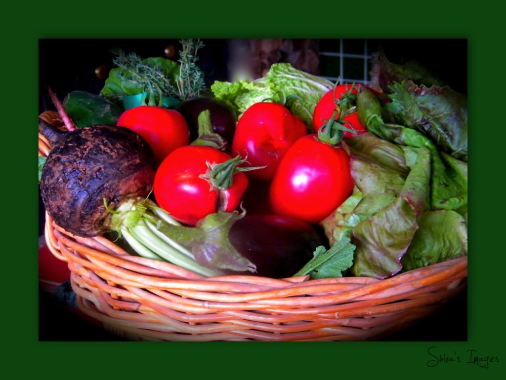 basket with veggies