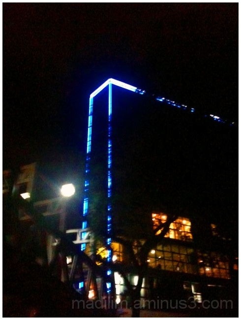 blue light outlining a building