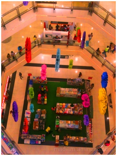 top view shot of a display area