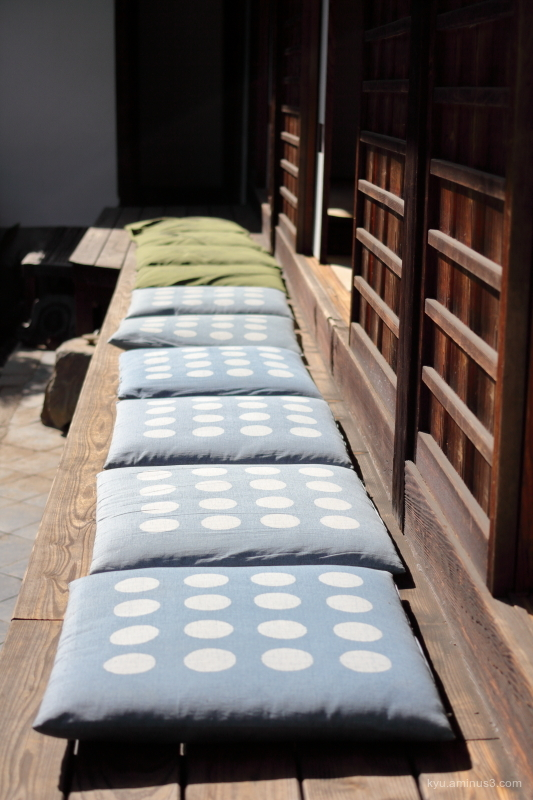basking-in-the-sun cushions Zabuton Fundain temple