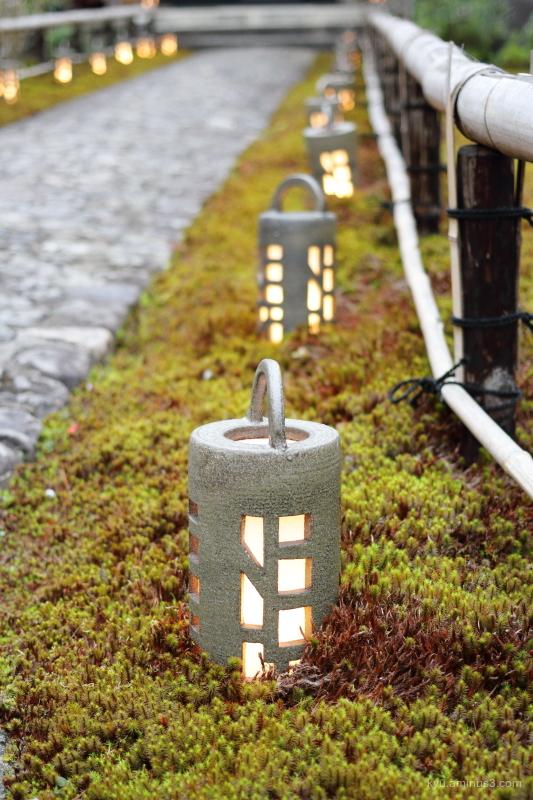 lanterns garden Kangaan temple Kyoto