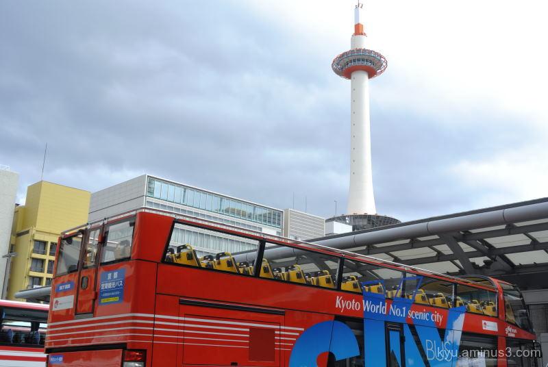 kyoto-tower bus framing kyoto