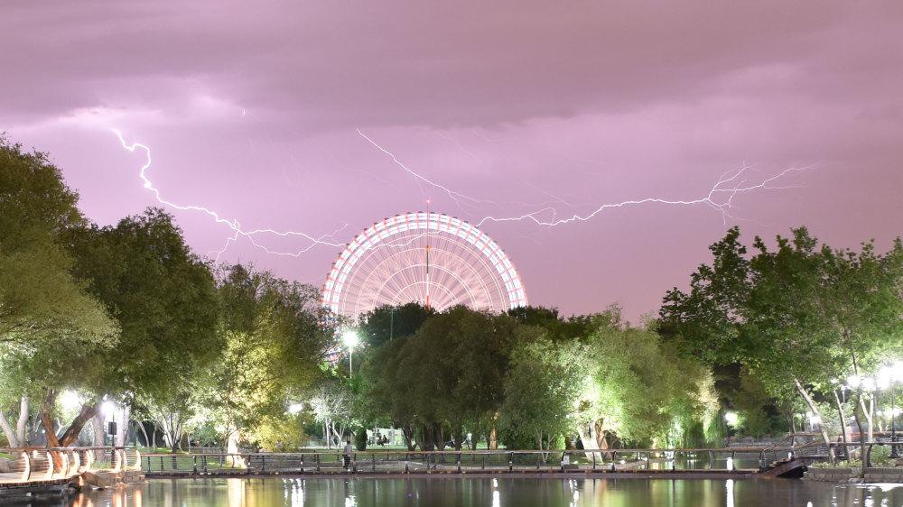 Lightning in sky of Mellat park-Mashhad