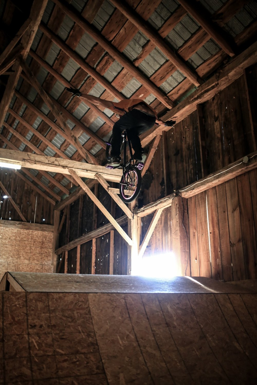 BMX jump in the barn.