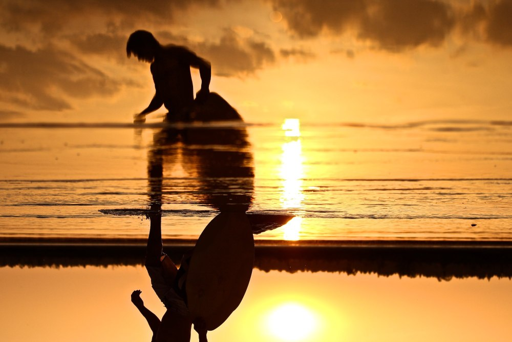 Sunset Skimboarding Reflections